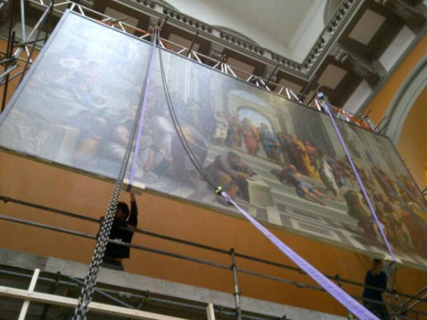 The School of Athens being lowered