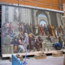 Copy of Rahael's School of Athens removed from wall for building works