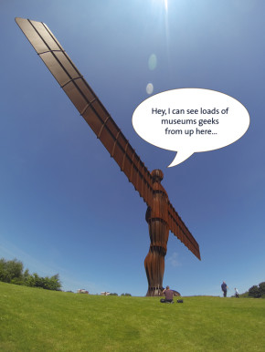 The angel of the North with museum geeks caption