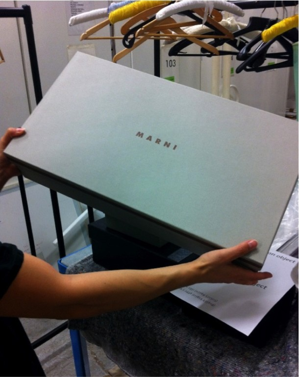 Marni box, with 'MARNI' label