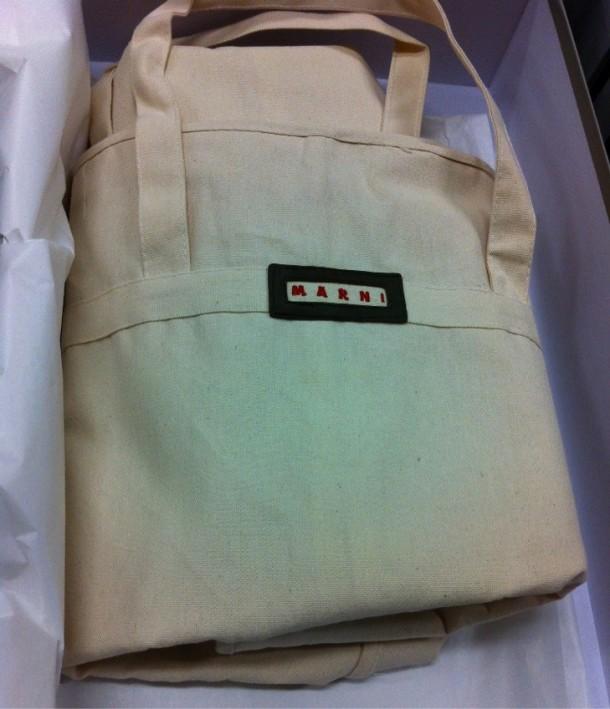 Marni canvas bag, with 'MARNI' labe