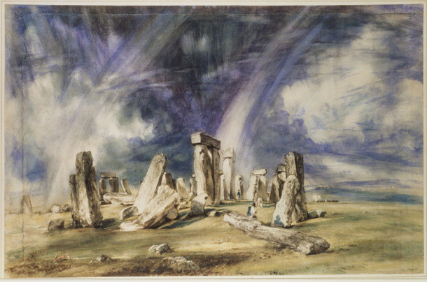 Watercolour painting of Stonehenge, Wiltshire.