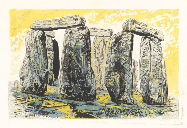 A colourful print depicting stone structures of Stonehenge.