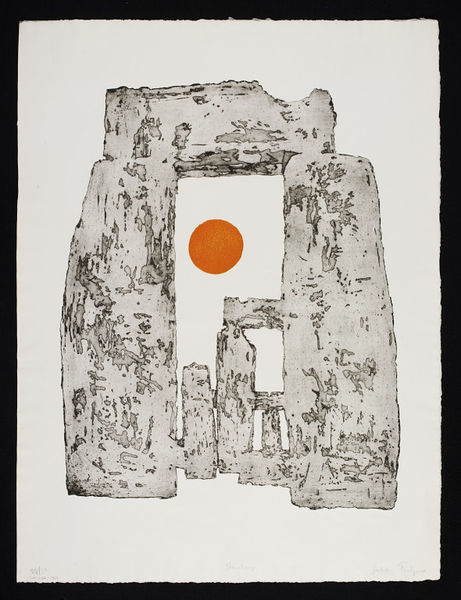 An aquatint showing the sun between standing stones at Stonehenge.