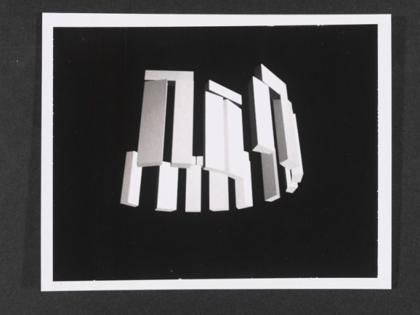 A Polaroid of a computer generated 3D rotating image of  Stonehenge.