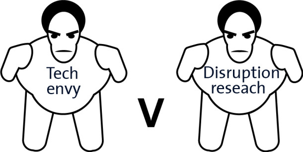 Cartoon Sumo wrestlers: Tech envy versus disruption research