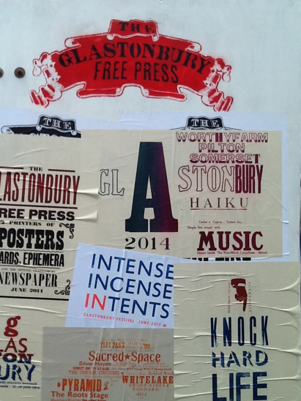 A selection of posters from The Glastonbury Free Press