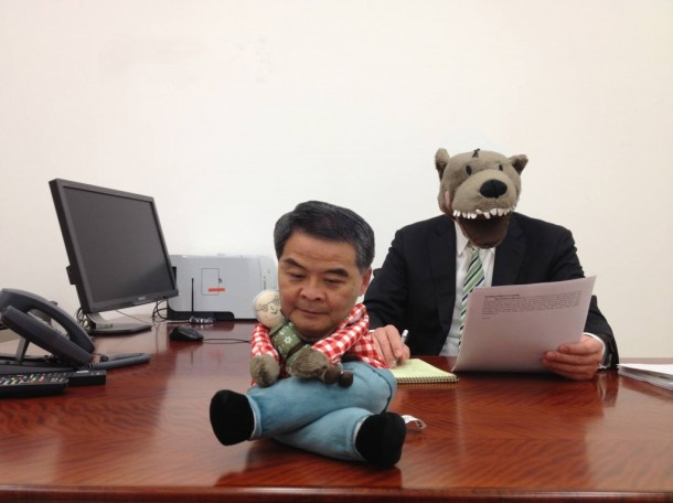 Images of CY Leung, superimposed on Lufsig, have circulated the internet