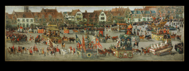 'Triumph of Archduchess Isabella in the Brussels Ommegang of Sunday, 31st May 1615', oil on canvas, Denys van Alsloot, Southern Netherlands, now Belgium (Brussels), 1616 V&A 5928-1859 © Victoria and Albert Museum, London