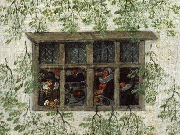 These fortunate residents are able to watch the procession go by while holding a dinner party – you can even see the pies on the table © Victoria and Albert Museum, London