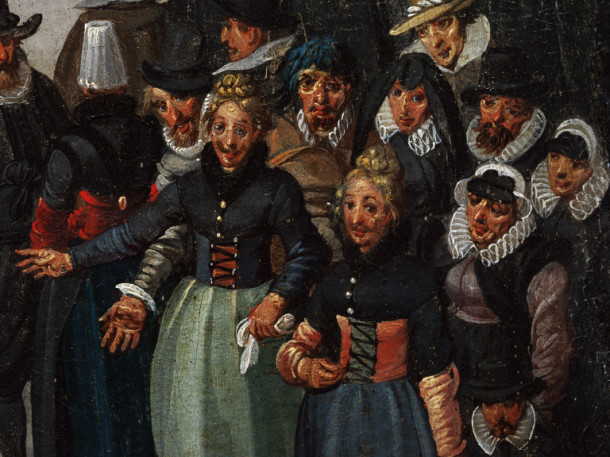 This group of revellers has taken advantage of the festive spirit, with two ladies sporting moustache 'disguises' © Victoria and Albert Museum, London