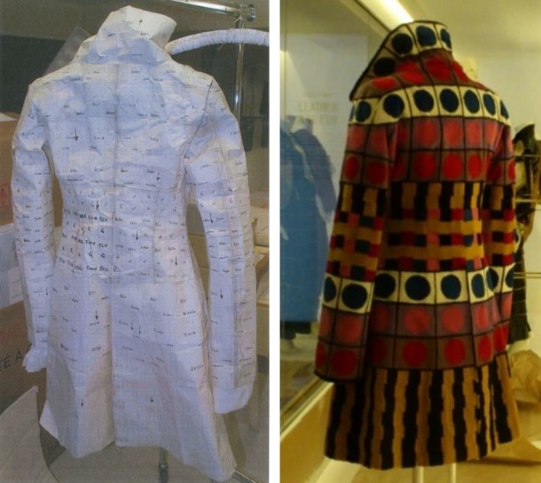 Comparing the back view of the paper pattern to the back view of the of the Fendi mink coat.