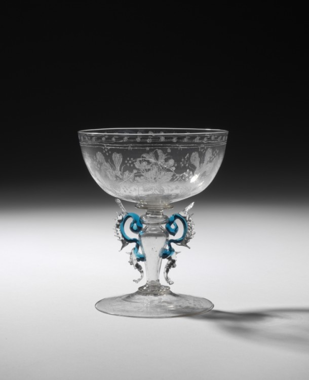 Glass, diamond engraved, with applied and tooled decorations, Venice, Italy, 1650-1700, C.89-1957. Victoria and Albert Museum, London.