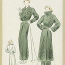 'Télémark.' Forest-green ski suit with blouson bodice and long trousers, and matching long overcoat. Designed by Ana de Pombo for Paquin, Winter 1935-36.