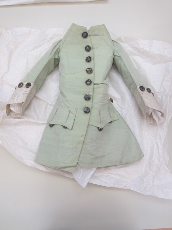 This coat forms part of one of my favourite objects - a miniature three-piece suit, consisting of a coat, waistcoat and breeches, that date from about 1760-65. Textile conservation will be mounting the suit on a made-to-measure mannequin for both photography and display. V&A T.282-1978