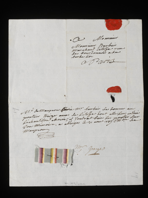 38041800167801 Letter from a series of Letters & Orders addressed to M. Barbier - Marchand de soie de la famille Royale & to his partner Tétard; French (Paris); c.1755 - c.95. National Art Library