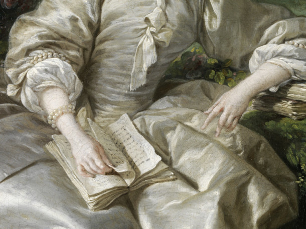 Detail from Portrait of Madame de Pompadour, oil on canvas, François Boucher, Paris, 1758 V&A 487-1882 © Victoria and Albert Museum, London