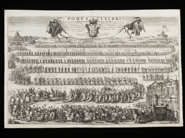 Funeral Procession of Christina Alexandra, Queen of Sweden; etching and engraving by Robert van Auden-Aerd; published by Giovanni Giacomo  de Rossi; 1689