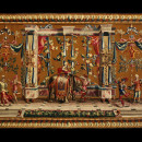 The tapestries woven at the Gobelins were the finest of any produced in Europe during the 17th and 18th centuries. This example, produced before Boucher was appointed head of the Manufactory, clearly demonstrates the quality and skill of Gobelin workers. V&A T.54-1955