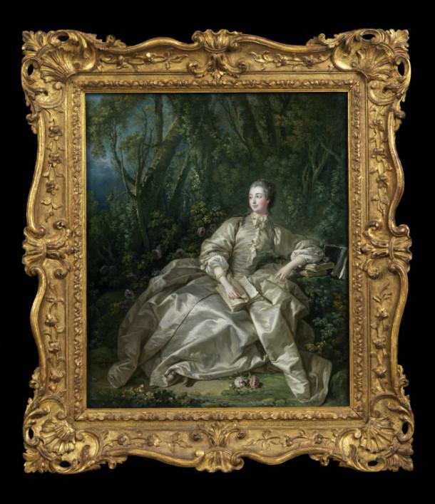 Portrait of Madame de Pompadour, oil on canvas, François Boucher, 1758. V&A 487-1882
