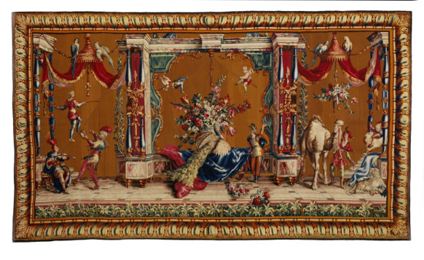 'The Camel' and 'The Acrobats', tapestry, woven in wool and silks on woollen warps, designed by Jean-Baptiste Monnoyer, made by the Beauvais Tapestry Factory, France, ca.1700- 1720 (V&A T.53-1955) © Victoria and Albert Museum, London