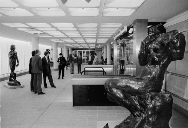 The Rodin Exhibition opening, in the newly completed Boilerhouse gallery, 1981. © Victoria and Albert Museum, London
