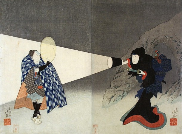 The Kabuki Actors Iwai Shijaku I and Bando Jutaro. Woodblock print by Shunbaisai Hokuei. Japan, 1832. V&A E.3873-1916