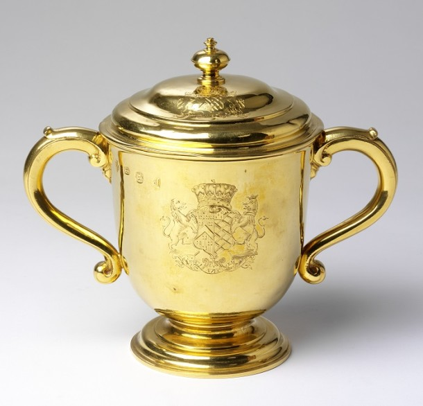 Cup and cover, Gold, London hallmarks for 1717-18, mark of Paul de Lamerie, bearing the arms of Berkeley impaling Noel