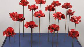 Sixteen ceramic poppies from 'Blood Swept Lands and Seas of Red'