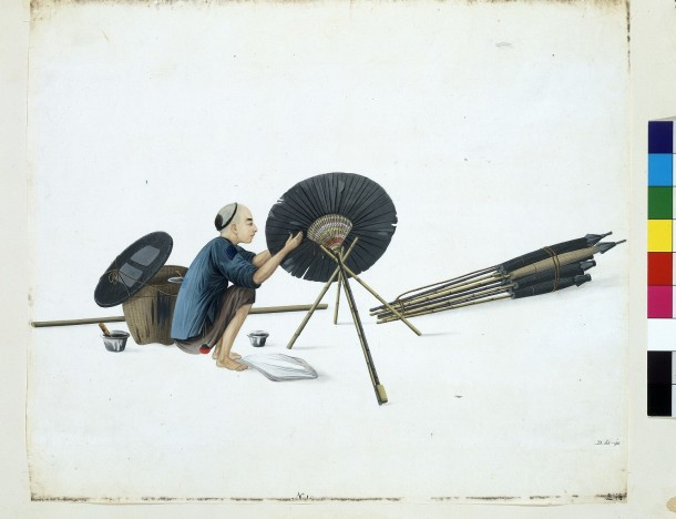 D.62-1898 Painting-Umbrella mender; Attributed to Puqua; Chinese (Guangzhou); c.1790; Watercolour. © Victoria and Albert Museum, London