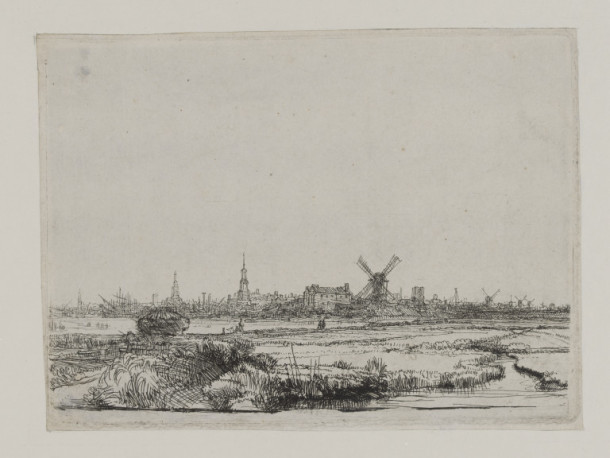 Amsterdam from the Northwest by Rembrandt van Rijn. Etching, engraving and drypoint. V&A CAI.608