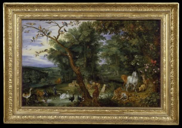 Temptation in the Garden of Eden by Jan Brueghel the Elder, Antwerp, about 1600. V&A 340-1878