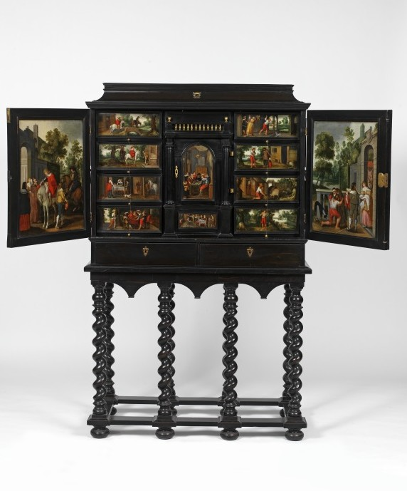 Cabinet with the Story of the Prodigal Son, Antwerp, 1640-60. V&A W.61-1923