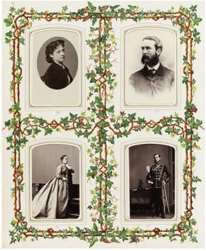 Page from a photograph album, showing four carte de visites.