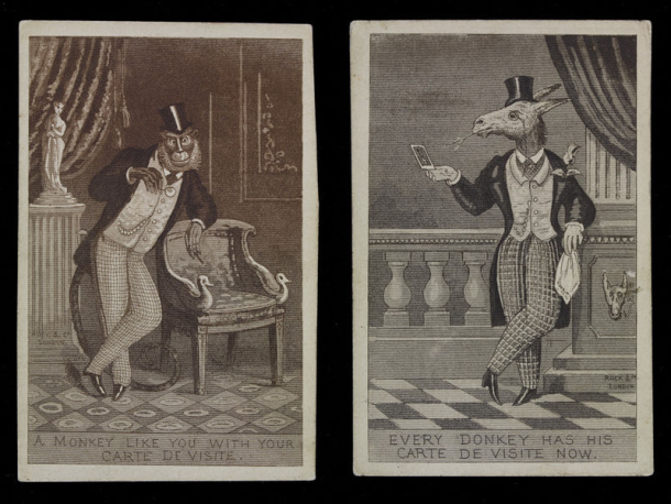 Two satirical prints showing a monkey and a donkey posing for carte de visite photographs