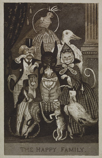 The Happy Family. Satirical engraving showing animals posing as a family group for a carte de visite
