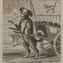 Satirical card showing a dog delivering a carte-de-visite