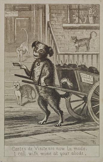Satirical card showing a dog delivering a carte-de-visite