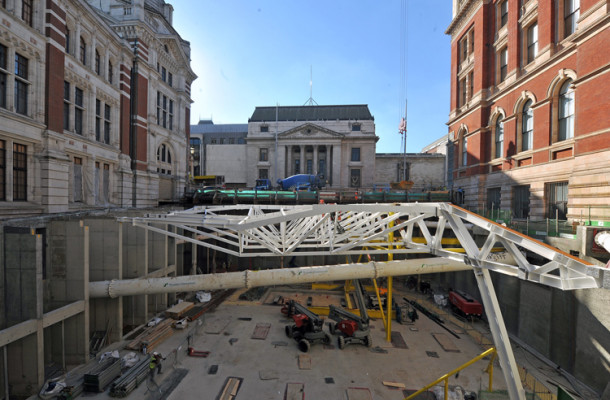 Trusses as seen from the new entrance spaces