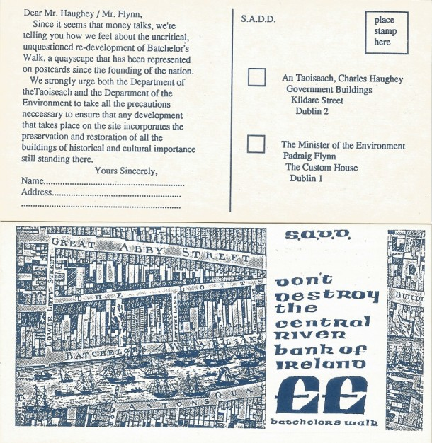 Protest postcard by S.A.D.D, 1988. (Image courtesy of Ciaran Cuffe of S.A.D.D.)