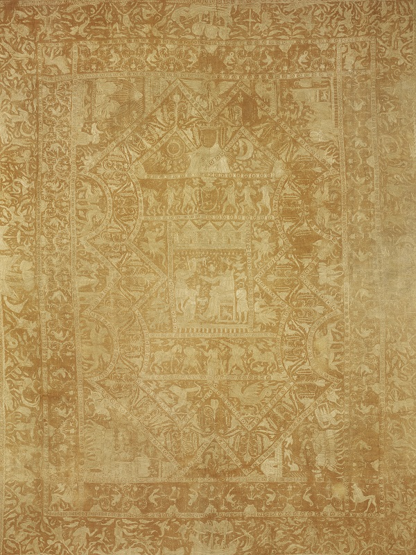 IS.6-1964 Bedspread Bedspread of quilted cotton embroidered with yellow silk, Bengal, 17th century Bengal 17th century Quilted cotton embroidered with silk