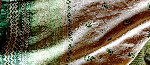 Kantha embroidery, tussar saree by Mallika's Kantha, Kolkata