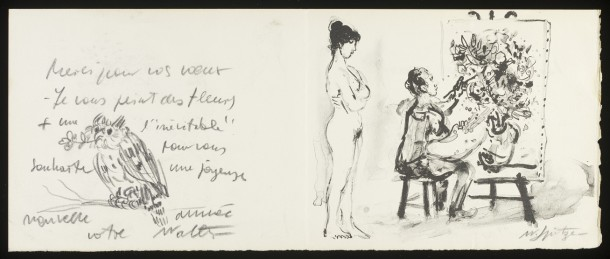 New Year greetings card, lithograph and pencil drawing by Walter Spitzer, France, ca. 1965. Museum no. E.262-1994. ©Walter Spitzer/Victoria and Albert Museum.
