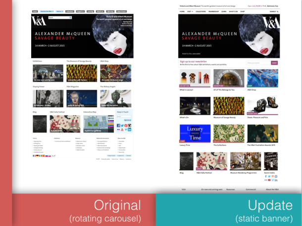 Carousel homepage - before and after