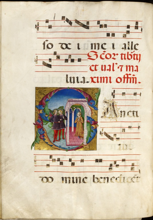 f48v: leaf from Dominican Gradual, illustrating the Feast of Tiburtius, Valerian and Maximus. Italy, between 1450 and 1499. Museum no. 38041800591901. ©Victoria and Albert Museum, London