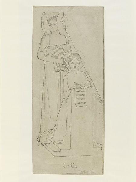 'St. Cecilia' by Elizabeth Siddal. Drawing, 1855. Museum no. E.3003-1911. ©Victoria and Albert Museum, London