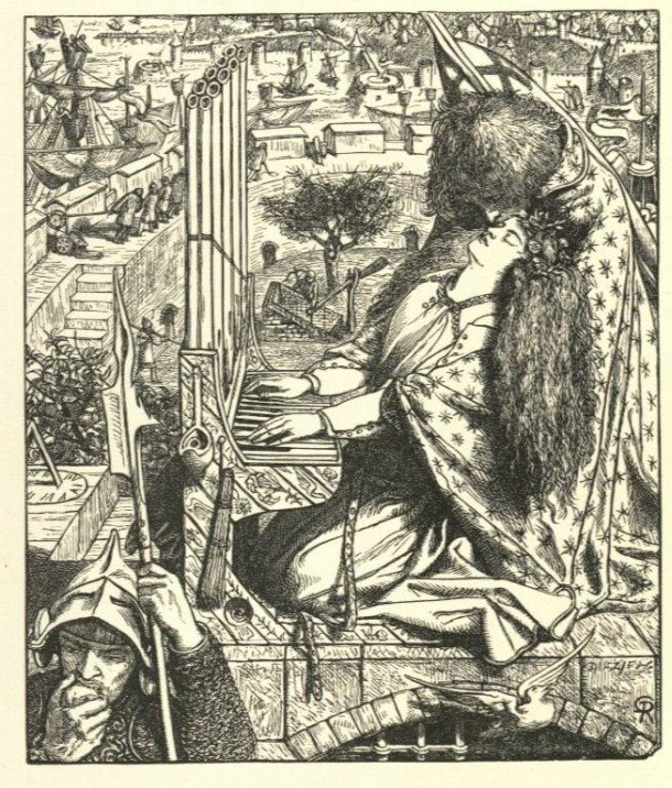 'St. Cecilia' by Dante Gabriel Rossetti. Wood engraving, p. 113 of Tennyson's Poems, published by Moxon in 1857. Museum no. 38041800149130. ©Victoria and Albert Museum, London