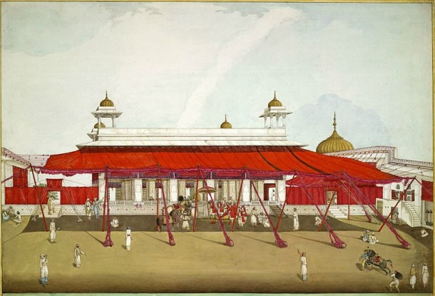 Diwan-i-Khas,_Red_Fort,_Delhi_with_red_awnings_or_shamianas,_in_1817