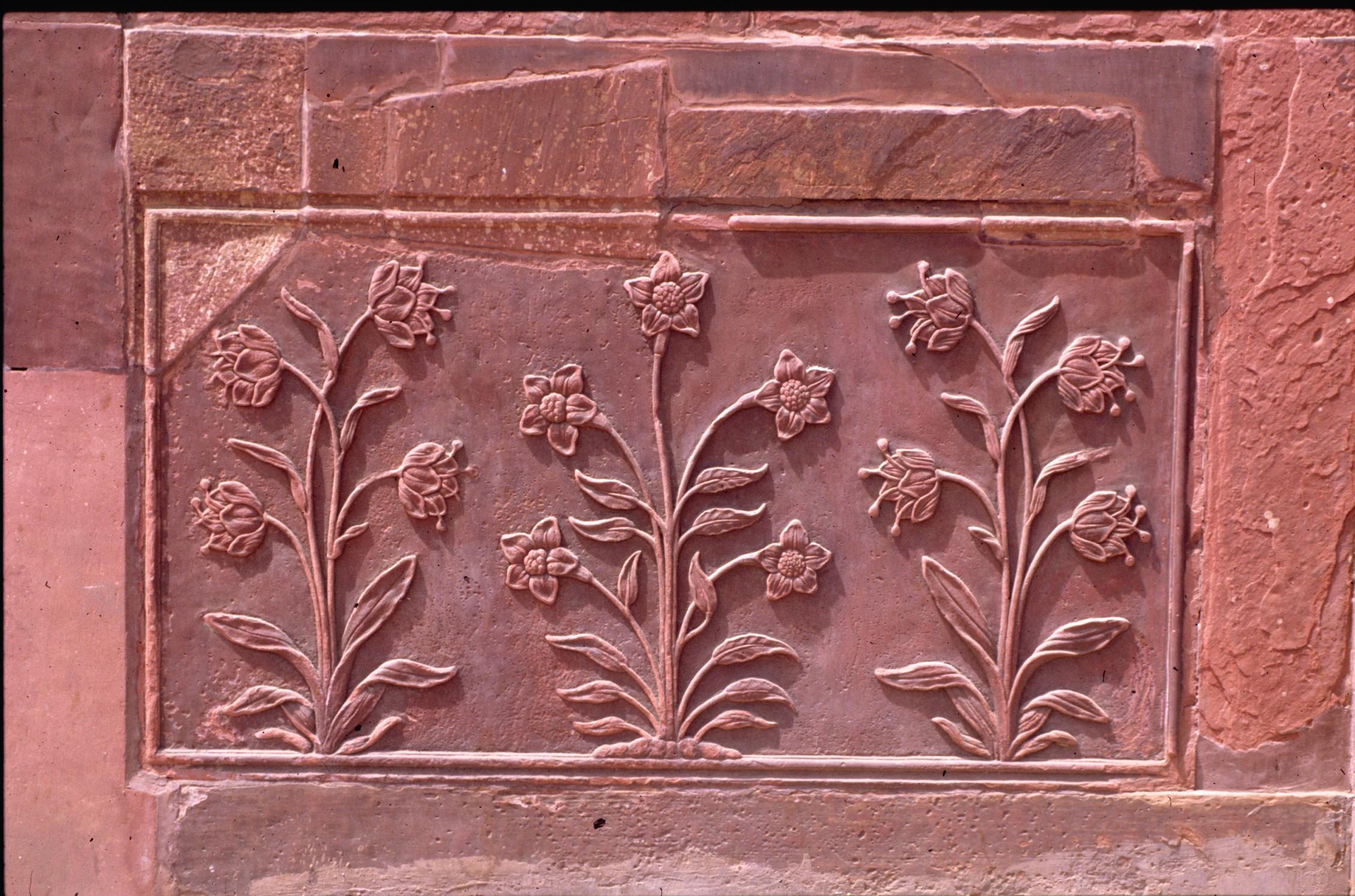 Mughal sandstone floral design