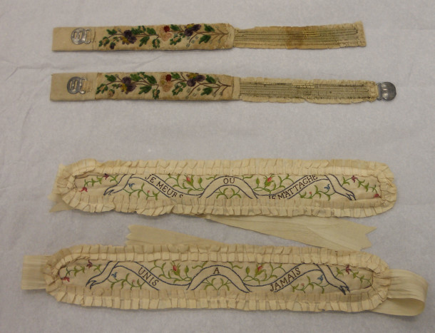Two pairs of 18th century garters (Circ.217-1920 and T.106&A-1969) © V&A Collection